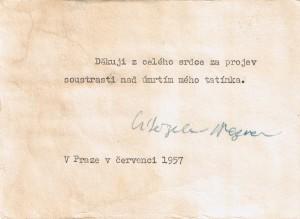 Nezvalovo poděkování za soustrast nad otcovým úmrtím (1957)