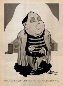 Karikatura: Nezval v Maskované milence (1941)